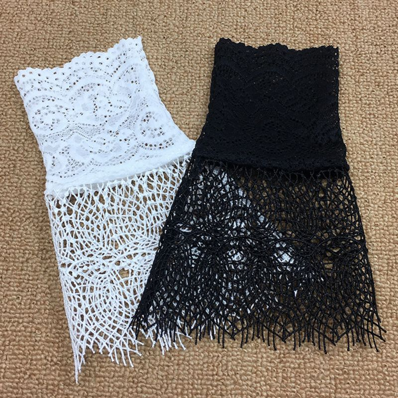 Palace Style Women Hollow Out Floral Lace Horn Cuff Fake Sleeve Sunscreen Gloves LX9E