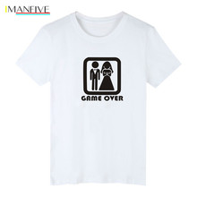Problem Solved Short Sleeve Tee Shirt Men Cotton Print Game OVER Tshirt Funny Fashion Black High Quality T-shirt S-3XL