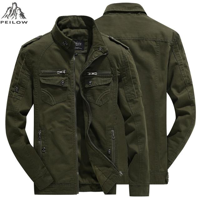 Autumn winter jacket men Washed Cotton Multi-pocket military army coat man fitness men`s Windbreaker Flight Pilot jackets M 6XL