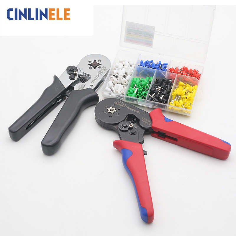 Tubular Terminal Crimper 6-6 0.25-6mm 23-10AWG & 10SA 0.25-10mm 23-7AWG Electrical Crimping Pliers Hand Tools Set HSC8 6-4