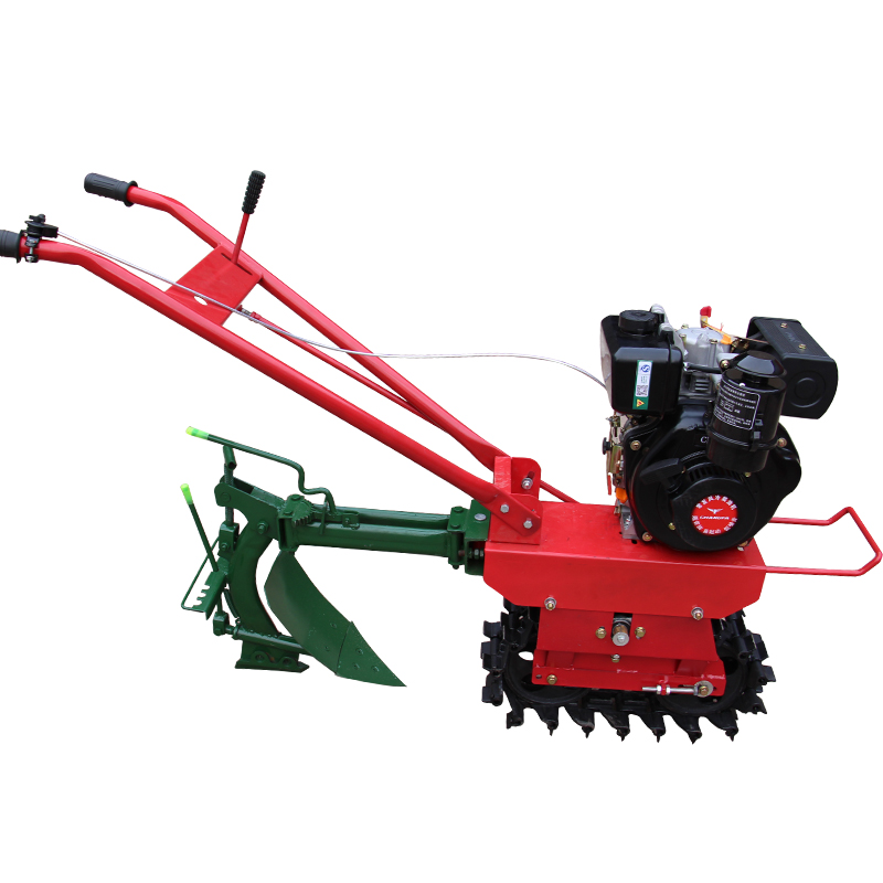Farmland 170 petrol micro tiller + ditch plow, chain track crawler micro tiller overturn trench soil loosening tillage machine|Hydraulic Tools| - AliExpress