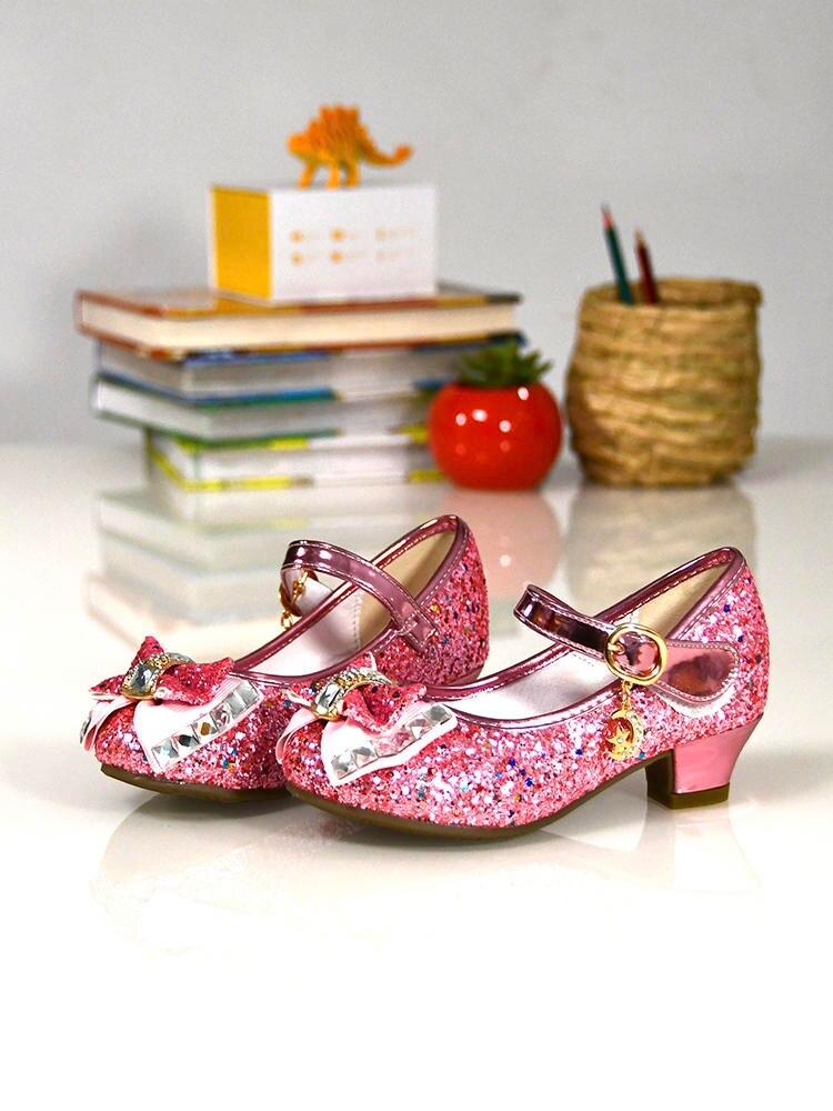 Shoes Flower Glitter High-Heel Pink Silver Girls Blue Princess Kids Casual Children