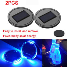 Coaster Drink-Bottle Solar-Powered Pad Car-Cup-Holder Interior-Decoration LED with Light