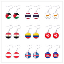 Palestine,Thailand,Cyprus,Egypt,Colombia,Tunisia,Austria,Iceland,Cambodia National Flag 16mm Glass Cabochon Drop Earrings Women(China)