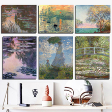 Claude Monet Poster Vintage Wallpaper Canvas Painting Living Room Home Decoration Modern Wall Art Oil Painting Posters Pictures claude monet in the morning canvas painting print living room home decoration modern wall art oil painting posters pictures art