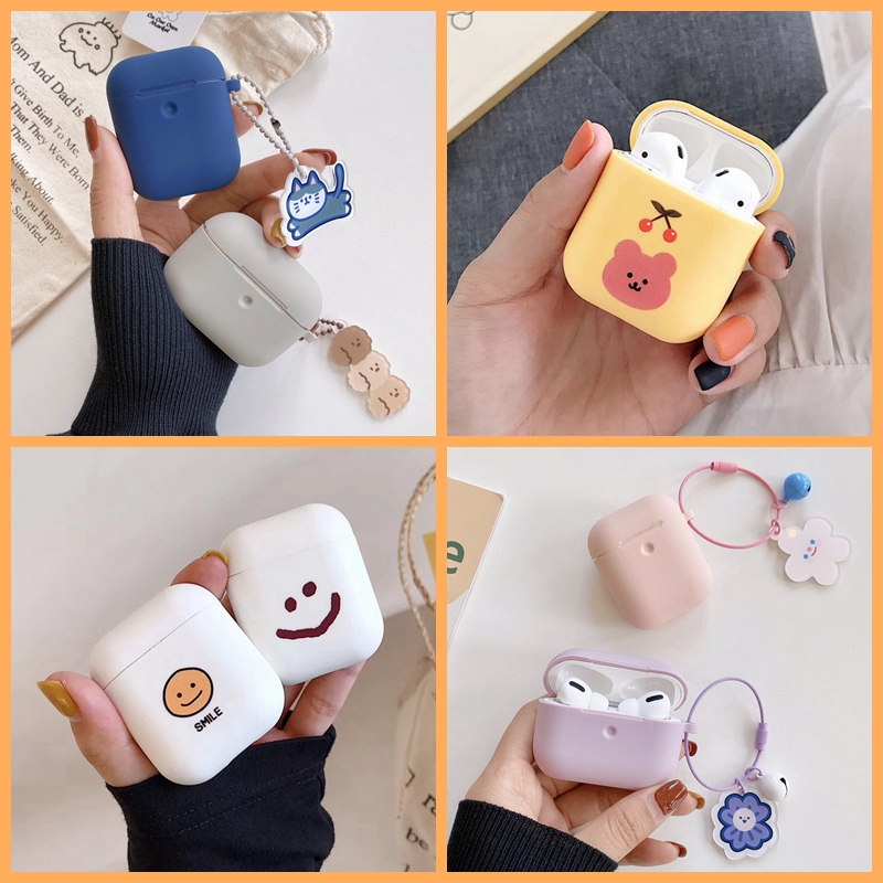 For AirPods Case Cute Cartoon Bear Earphone Cases For AirPods 2 Ins Style Cat Dog Flower Pendant Soft Silicone Protect Cover