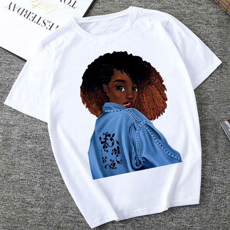 Америка Африка девушка печать женщина Tshirt лето женская мода уличная майка Harajuku вскользь короткими рукавами Tops тенниски