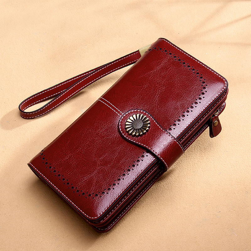 Aliwood Brand Hollow Women Clutch Leather Wallet Female Long Wallet Women Zipper Purse Strap Money Bag Purse For IPhone Carteira