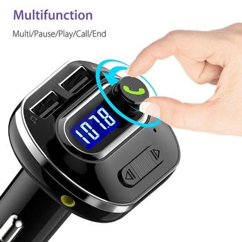 цена на Car AUX Auto Receiver FM Adapter Kit Handsfree Wireless Bluetooth FM Transmitter LCD MP3 Player USB Charger 2.1A Hands Free