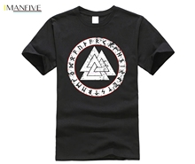 New fashion summer short men t shirt VALKNUT RUNES Wotansknoten Odin Thor Loki Midgard viking Rune Walhalla
