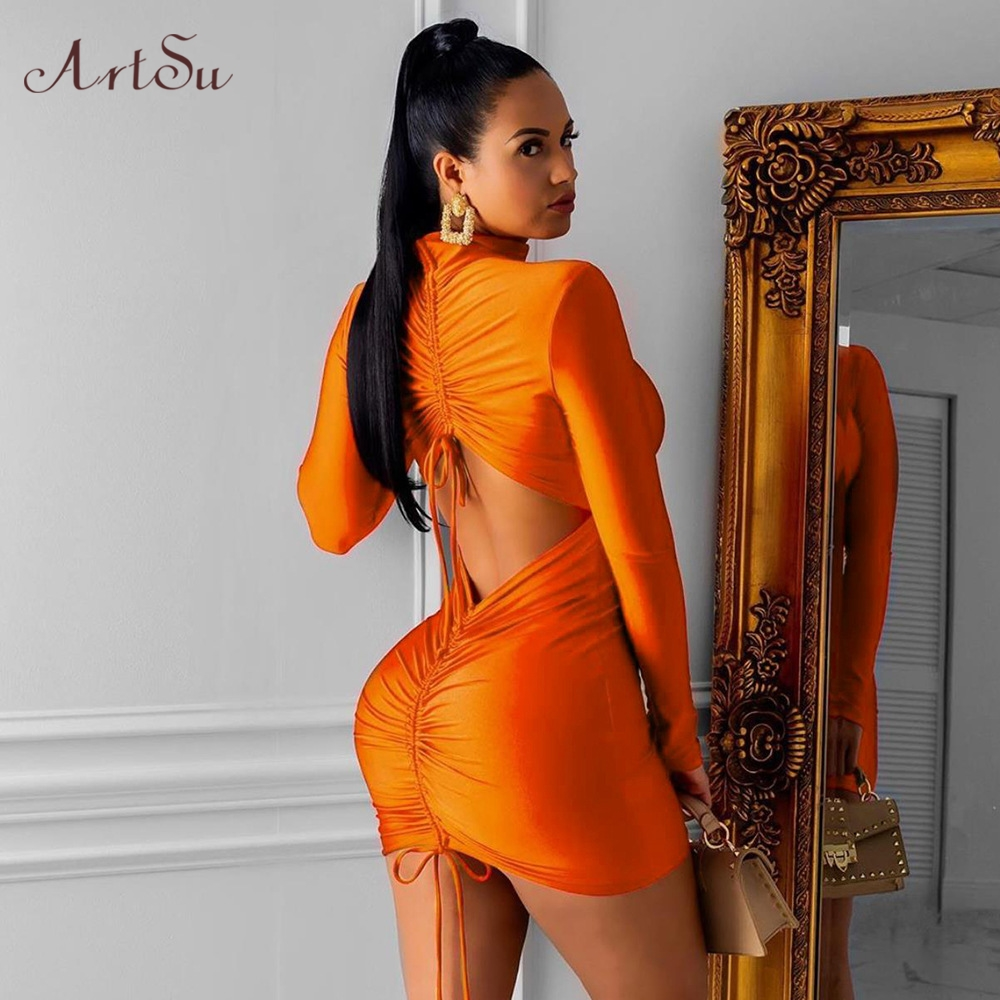 ArtSu 2019 Autumn Ruched Bodycon <font><b>Mini</b></font> <font><b>Dress</b></font> Solid Turtleneck Drawstring <font><b>Dress</b></font> <font><b>Sexy</b></font> <font><b>Lace</b></font> Up <font><b>Female</b></font> <font><b>Party</b></font> Night <font><b>Dress</b></font> ASDR60441 image