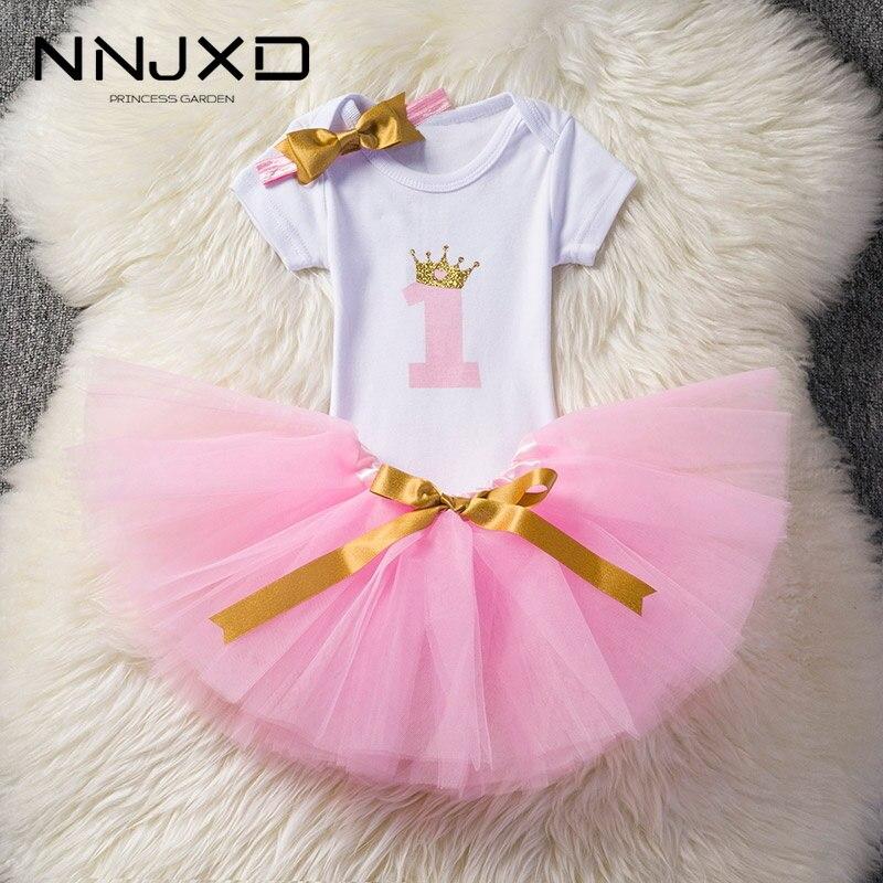 1 rok sukienka urodzinowa dla dziewczynek słodkie różowe ubrania z bezpłatnym łuk pałąk noworodka księżniczka odzież niemowląt chrzest kostiumy