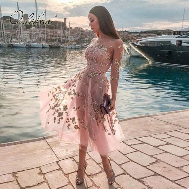 Ordifree 2020 Summer Women Tulle Party Dress Pink Mesh Sequin Sexy Strapless Dress