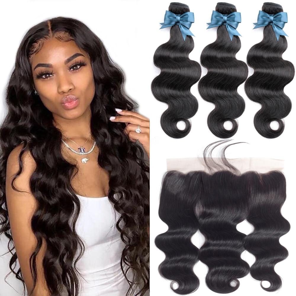 Cabelo brasileiro tecer pacotes com frontal beaudiva cabelo brasileiro onda do corpo cabelo humano 13x4 fechamento frontal do laço com pacotes