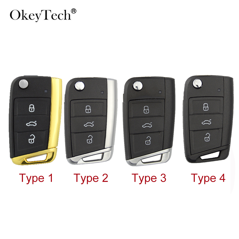OkeyTech For V W <font><b>Golf</b></font> <font><b>7</b></font> MK7 Skoda Octavia Seat 3 Button Car <font><b>Key</b></font> Shell Filp Folding Replacement <font><b>Remote</b></font> Cover Case Fob Uncnt Blade image