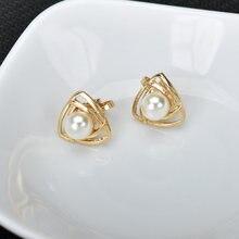 Não perfurado cor de ouro simulado pérola triângulo clipe em brincos para mulheres orelha manguito brinco feminino jóias geométricas kolczyki