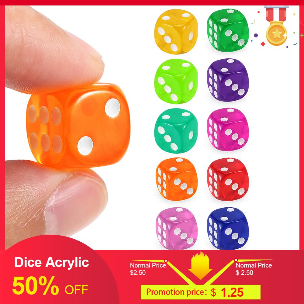 Adult 10 PCS 14MM Transparent Dice Acrylic Drinking Gambling Game Playing Square Corner Dice Set Portable Table Playing Games