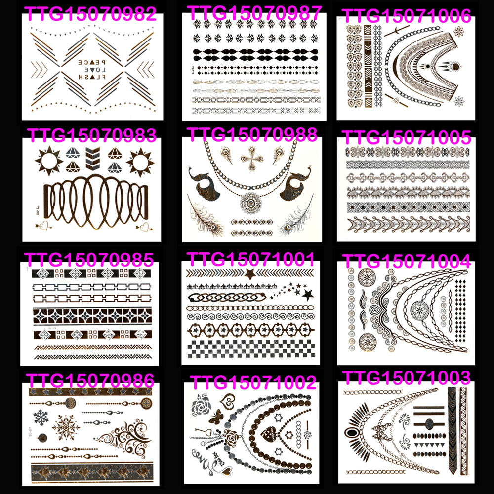 20X14 12pcs Indian making up fake jewelry Metallic tattoo Christmas tree body sticker carnival event summer halloween tattoos image