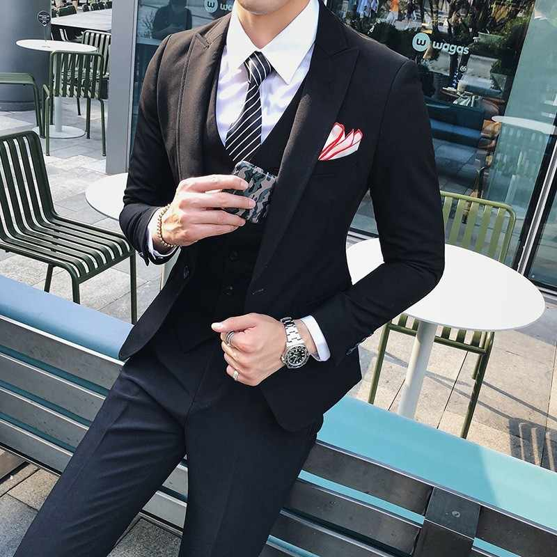Hoge Kwaliteit Merk Mens Suits Fashion Solid Single Button Blazer Broek 3 Stuk Wedding Party Set Mannelijke Business Casual Pak sets