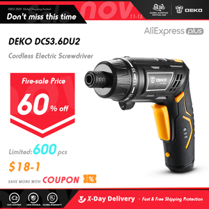 Image 1 - DEKO DCS3.6DU2 Cordless Electric Screwdriver with Rechargeable Battery Twistable Handle DIY Household Screwdriver with LED Light