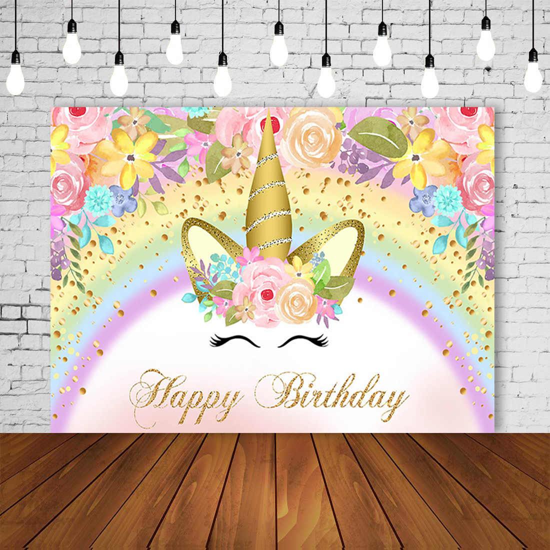 Video Studio Backdrop Unicorn Little Princess Happy Birthday Rainbow Watercolor Flowers Seamless Photography Photo Cartoon Props Background Fabric Golden Crown Vinyl Props Backdrop
