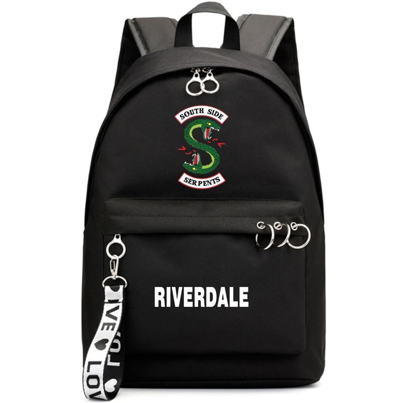 Riverdale Jughead Jones Southside Serpents Motif Drawstring Canvas Bag Drawstring Backpack-Black