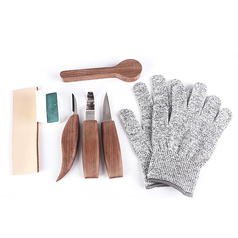 7Pc Wood Carving Tools Set - Hook Carving Knife, Whittling Knife, and Detail Wood Knife for Spoon, Bowl, Cup Or General Woodwork