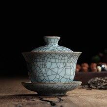 [GRANDNESS] Китайский Ge Kiln Longquan Celadon фарфоровая китайская гайвань чайные чашки и чаша керамическая 155 мл хрустящая глазурь чайник