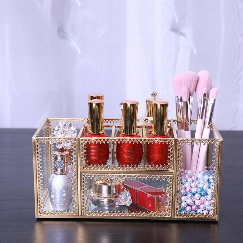 Compõem cestas de armazenamento em forma de polígono dourado do vintage organizador latão tom vidro claro ornamentado jóias diversos bandeja de armazenamento