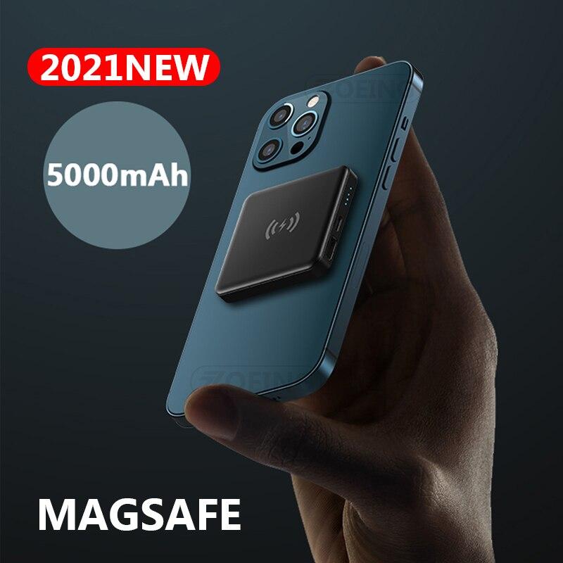 10W магнитное Беспроводной Мощность банка с разъемом Magsafe для Мощность банк 5000 мАч мобильный телефон Зарядное устройство для iphone12Promax магнит ...