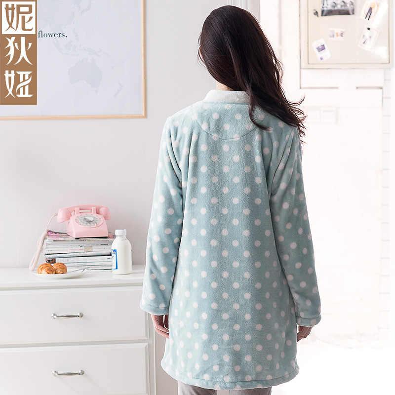 Пижамы корейский стиль бархатные пижамы зимний длинный рукав фланель толстый точечный Шерстяной Спортивный костюм набор пижамы для женщин одежда