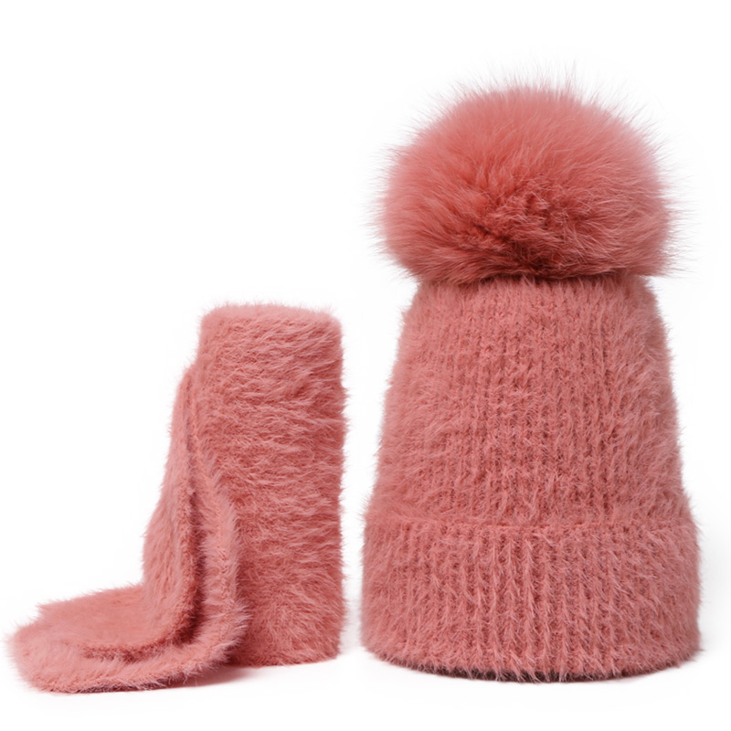 Beanie Hat Scarf Set Solid Color For Female And Children Real Fox Fur Pompon Skullies Caps Winter Warm Soft Knitted Velvet Hat