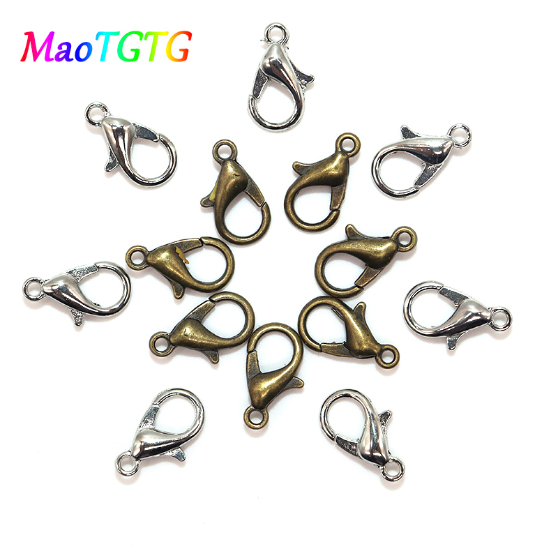 100Pcs 10//12mm Lobster Clasp Connector Ring End Hook Buckle Jewelry Findings