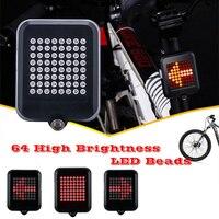 64 luzes automáticas de led para bicicleta  indicador de direção  indução inteligente  direção  segurança  aviso de seta  luz traseira  ciclismo