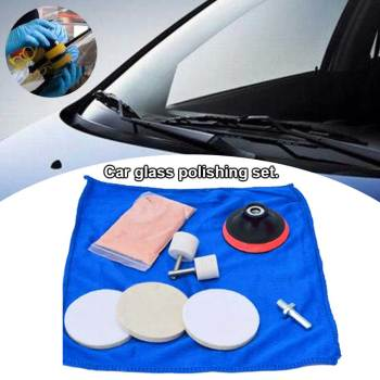 9pcs Mirrors Windshields Repair Glass Polishing Set Watch Car Windows Easy Use Wheel Cerium Oxide Powder Tool Scratch Remover image