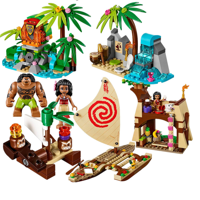 515pcs <font><b>Vaiana</b></font> Moanas Ocean Voyage Restore The Heart Of Te Fiti Set Building Blocks Maui Toys Compatible With Friends image