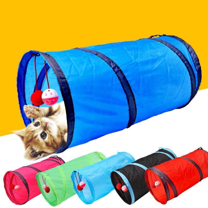 재미 있은 애완 동물 고양이 터널 2 구멍 놀이 튜브 공 Collapsible Crinkle 새끼 고양이 장난감 강아지 흰 족제비 토끼 놀이 개 터널 튜브