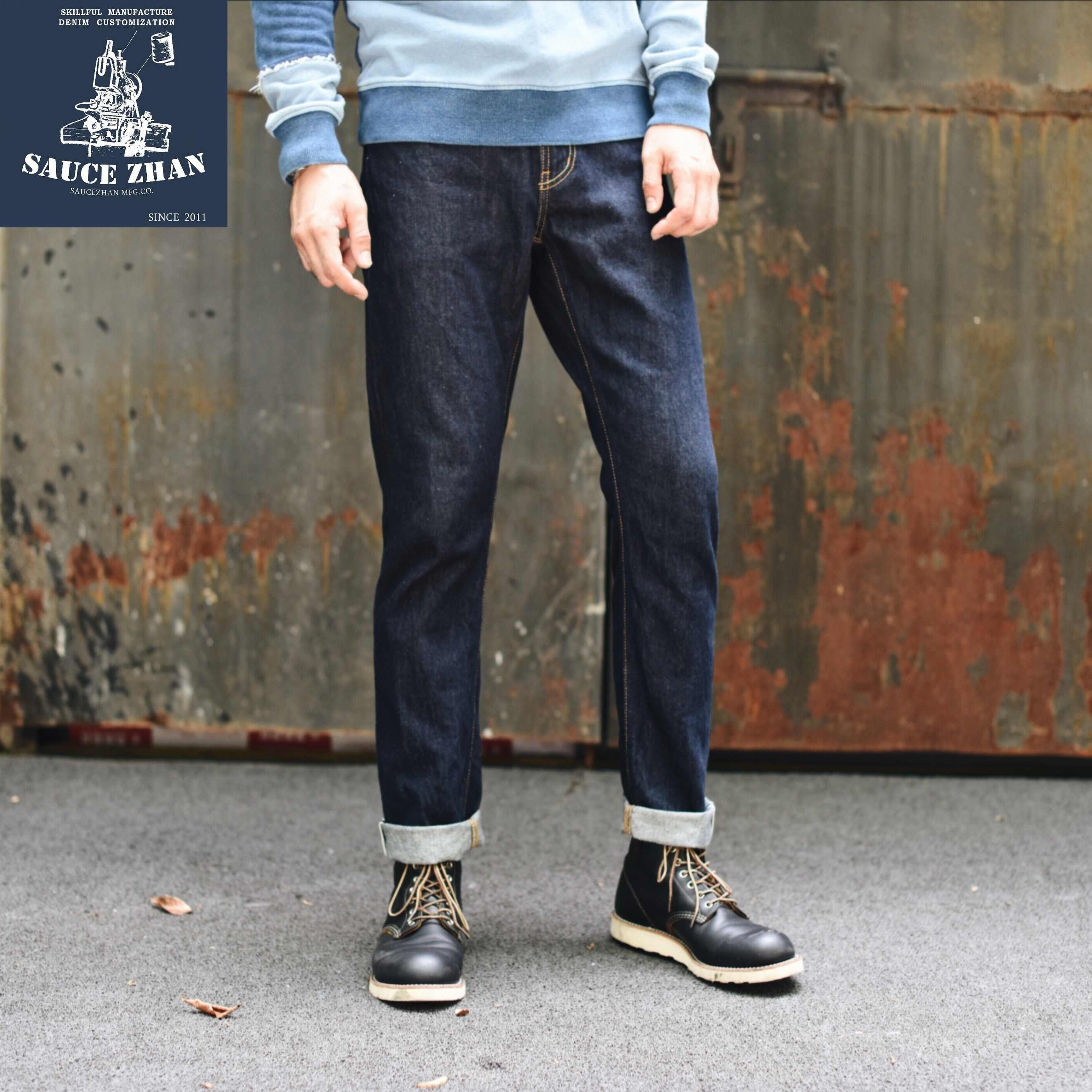 Saucezhan 314XX Mannen Jeans Zelfkant Jeans Zelfkant Denim Jeans Raw Denim Indigo Jeans Slim Fit Jeans Heren Jeans Merk
