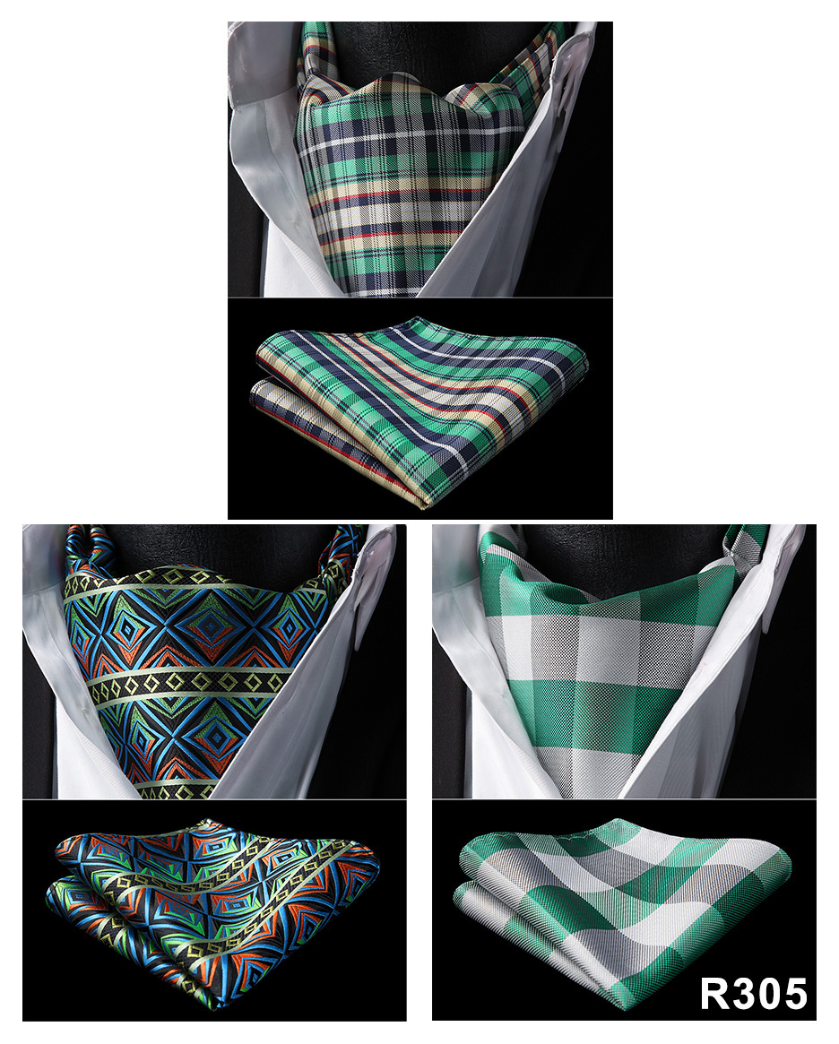 Wedding Party HISDERN Paisley Flora Plaid Ascot Cravat Woven Classic Men's Necktie  3 Pack Handkerchief Pocket Squre Set
