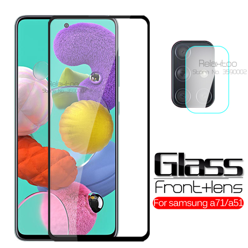2-in-1 camera protective glass For samsung Galaxy a71 a51 screen protector tempered Glass samsun a 71 51 a515F a715F Film Cover