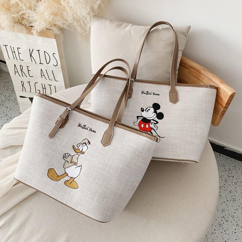 Disney Minnie High Capacity Handbag Women Canvas Bag Female 2020 Tote Bag Cartoon Bag Mickey Shoulder Portable Shopping Bag