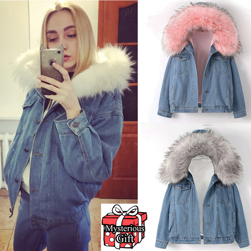 Winter Warm Bomber Women Autumn Hooded Coat Jeans Denim Jackets Basic Ladies Top Windbreaker Female Large z30