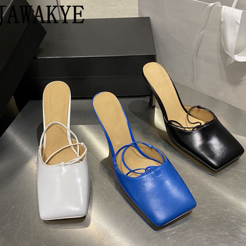 Square toe pumps women high heels cross tied sandals sexy runway design summer shoes 2020 newest mules zapatos mujer