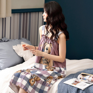 Image 2 - Camisón bonito estampado de oso Caiyier sin mangas de verano para mujer, Camisón de algodón con bolsillo, ropa de M XXL