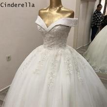Main travail robes de mariée cristal perles cour Train dentelle Applique Tulle robes de mariée avec à lacets dos vestido de noiva