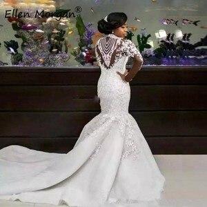 Image 2 - Afrikanische Schwarz Mädchen Meerjungfrau High Neck Spitze Brautkleider 2020 Vestido De Noiva Kristall Langen Ärmeln Frühjahr Gargen Brautkleider