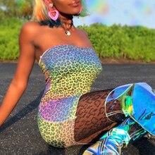 Goocheer leopard print slash neck sexy mini dress 2019 summer women fashion streetwear club party dresses outfits