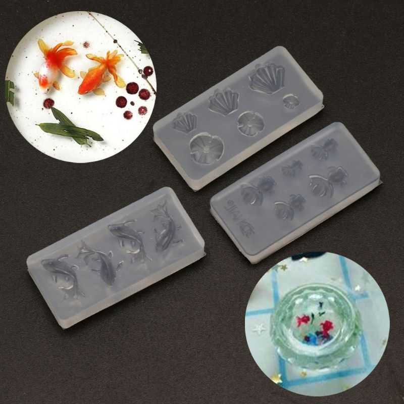 3Pc Mini Size Goldfish Lotus Leaf Earrrings Water Dag DIY Resin Jewelry Mold Kit