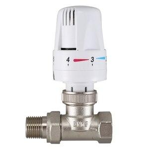 Image 2 - Латунный термостатический клапан радиатора прямого типа, автоматический клапан контроля температуры, подогрев пола