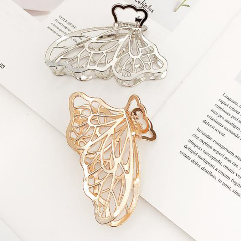Women Girls Large Size Geometric Hair Claw Clamps Metal Butterfly Shape Hair Claw Clip Solid Color Hairpin Hair Accessories